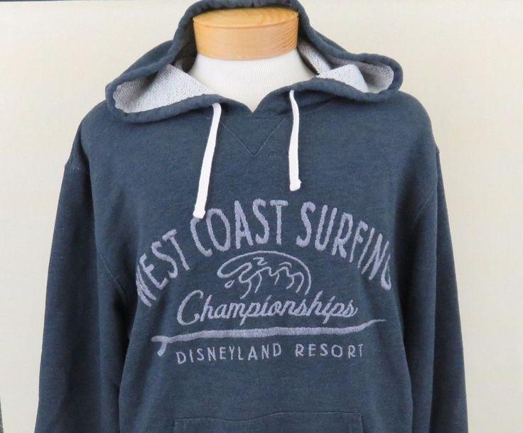 Disneyland Resort XL Hooded Sweatshirt Grey West Coast Surfing Championships EUC #DisneyResorts #PulloverHoodie