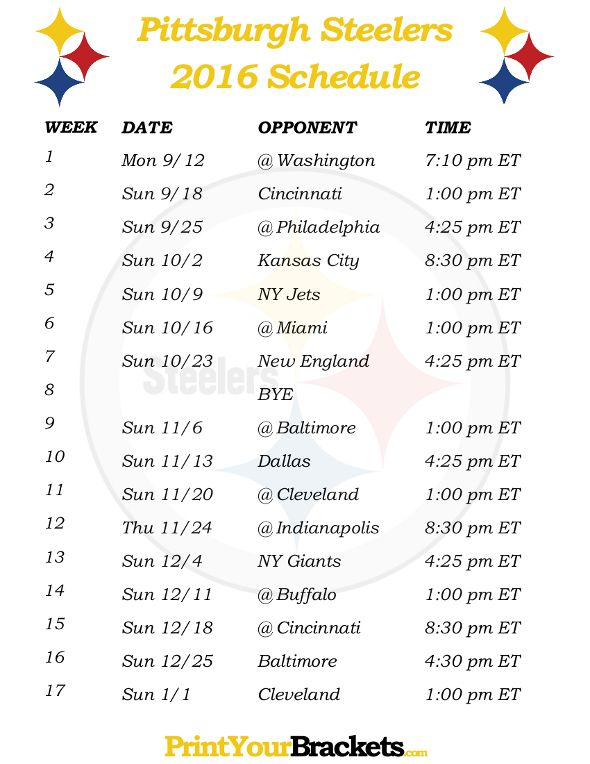 Printable Pittsburgh Steelers Schedule - 2016 Football Season