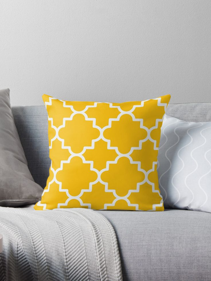 Traditional quatrefoil lattice pattern, in yellow and white colors. / White moroccan lattice on yellow background. / Yellow moroccan trellis patterned cushion. • Also buy this artwork on home decor, apparel, stickers, and more.