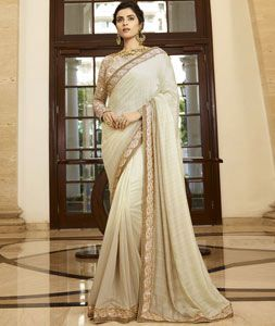 Buy Cream Silk Party Wear Saree 77442 with blouse online at lowest price from vast collection of sarees at Indianclothstore.com.