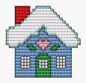 Cottage, free cross stitch patterns and charts - www.free-cross-stitch.rucniprace.cz