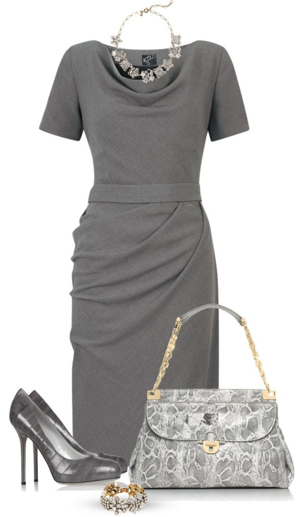 """Gray dress"" by marincounty on Polyvore"