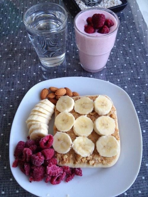 Delicious And Healthy Breakfast Toasts With Fruit Special Smoothie