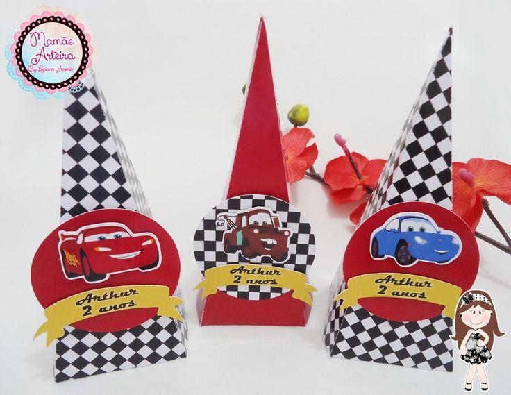 Cone Quadrado 3D Tema Carros Disney   Mamãe Arteira - Luciana Amorim   Elo7