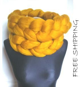 Chunky Knit Scarf Merino Wool Yellow Wool Blanket by Merrisson