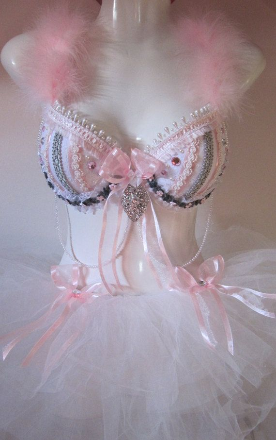 Pretty in Pink Sexy Bra, Outfit, Costume for Rave, EDC, EDM, Parties, Festivals