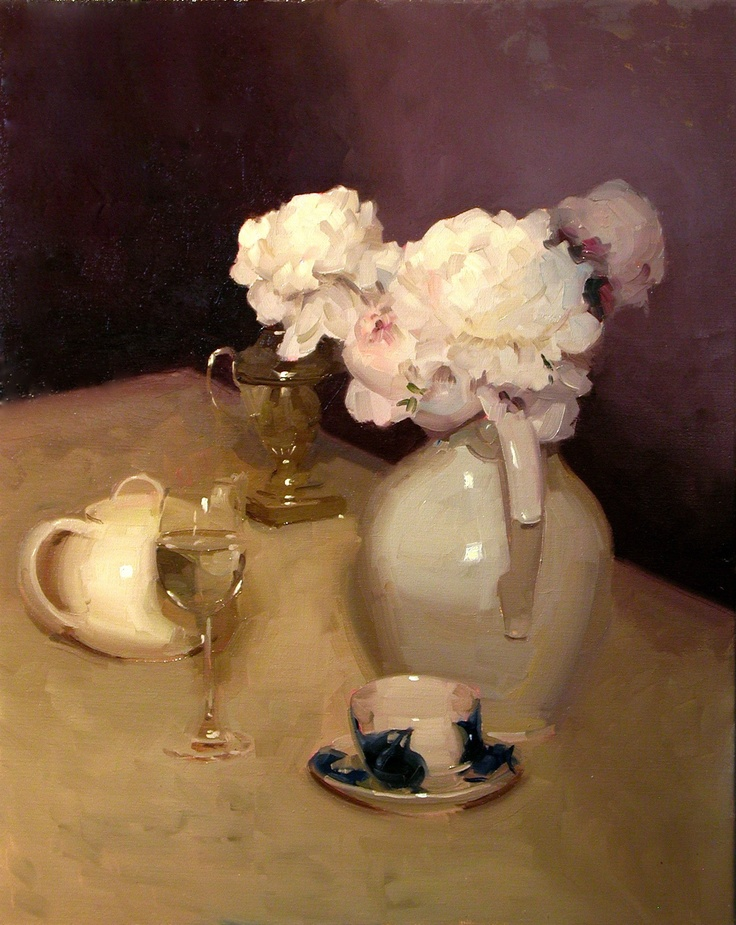 Painting by Dennis Perrin | Peonies Still Life