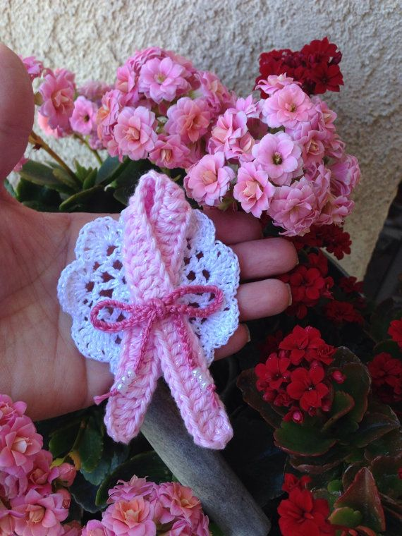 PINK RIBBON BREAST Cancer  Awareness  Crochet Pin. on Etsy, $25.00