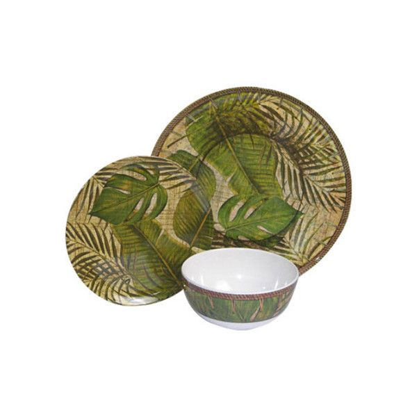 Melamine Tropical Leaf 3 Piece (99 RON) ❤ liked on Polyvore featuring home, kitchen & dining, dinnerware, tropical dinner plates, brown dinnerware, leaf salad plates, melamine salad plates and leaf dinnerware