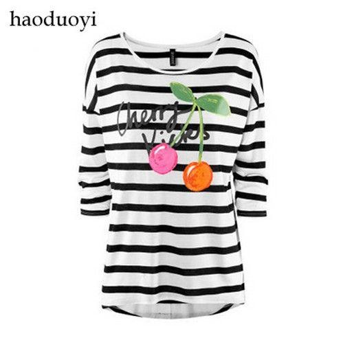 Cheap Hace punto medio haoduoyi 57 2014 nuevas mujeres t cereza de la manga floja rayas blanco y negro T shirt envío gratis, Compro Calidad Camisetas directamente de los surtidores de China:                                         &n