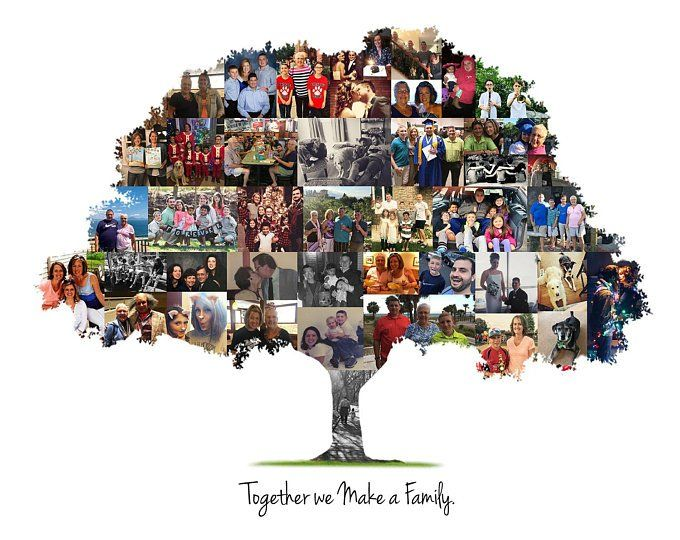 Personalized Family Tree Photo Collage, Family Tree Print, Birthday Gift – Custom Made with Your Digital Pictures