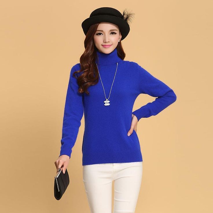 Fashion Women Cashmere Sweaters Winter Female Solid Color Turtleneck Long-Sleeved Knitted Soft Warm Wool Pullovers