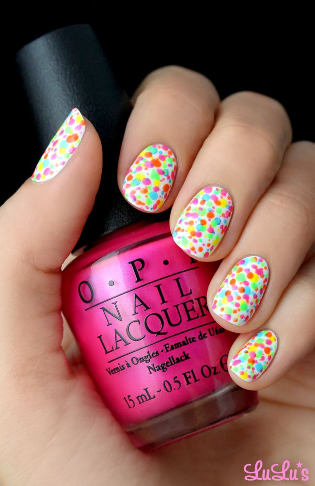 Neon Splatter Nail