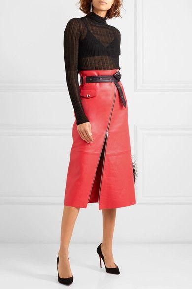 9176679fea Sonia Rykiel | Zip-embellished belted leather midi skirt | NET-A-PORTER.COM