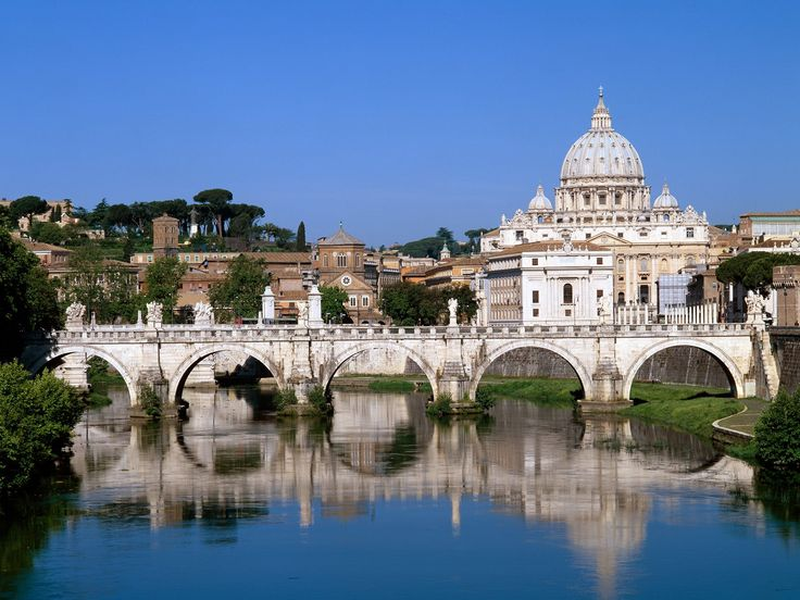 The Vatican Seen Past the Tiber River- Rome, Italy