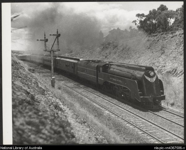 Streamlined locomotive S301 (Sir Thomas Mitchell) hauling a southbound express at Heathcote Junction, Victoria, ca. 1940s