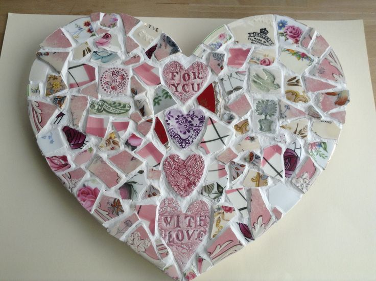 Mosaic heart with handmade impressed ceramic words.