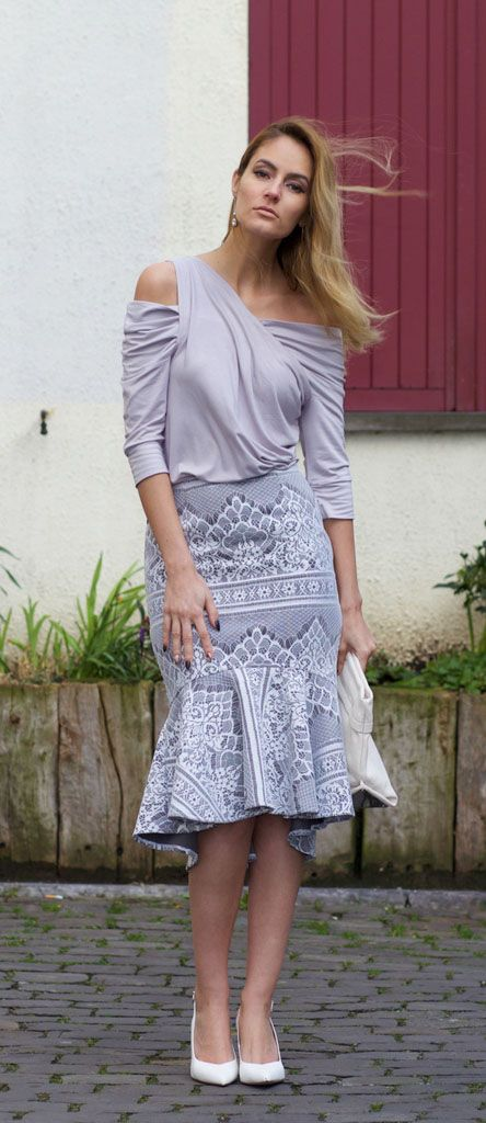 from-brussels-with-love  Baroque Lace Grey Frill Hem Skirt