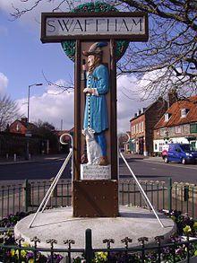 The Pedlar of Swaffham is an English folktale from Swaffham, Norfolk. (Swaffham town sign)