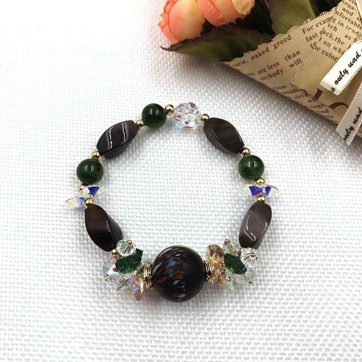 UneJoux Fashion Bracelet With Azure Stone & Swarovski Crystal FBL-8
