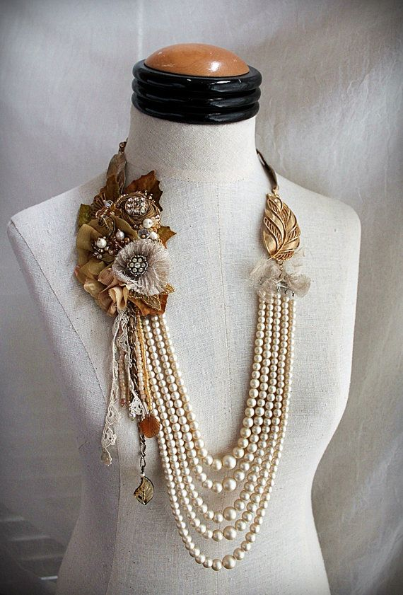 GOLDEN OAK Mixed Media Art Statement Necklace by carlafoxdesign