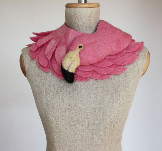 Pink Flamingo pale version felted wool animal scarf by celapiu