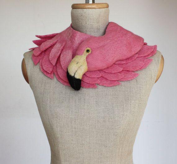 Rosa Flamingo - Tier Gefilzte Wolle-Schal