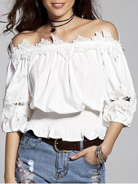 Lace Splice Off The Shoulder manches 3/4 Blouse - Blanc XL