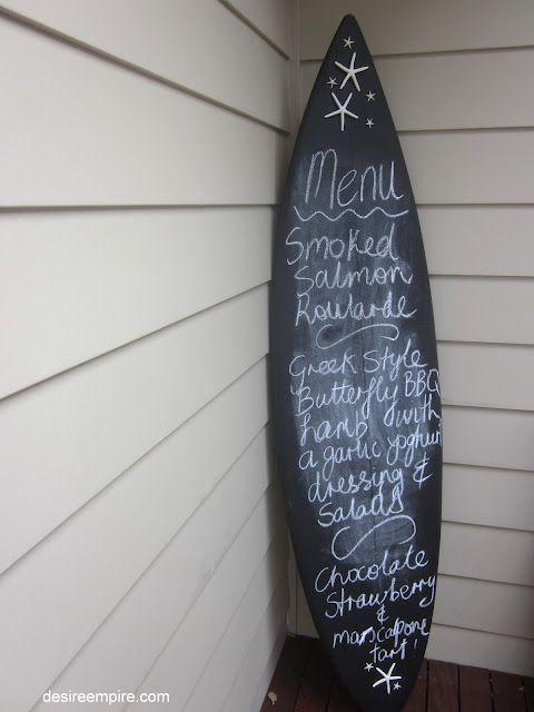 Surfboard Chalkboard Menu