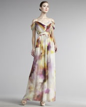 Kay Unger New York Off-the-Shoulder Printed Gown  $550