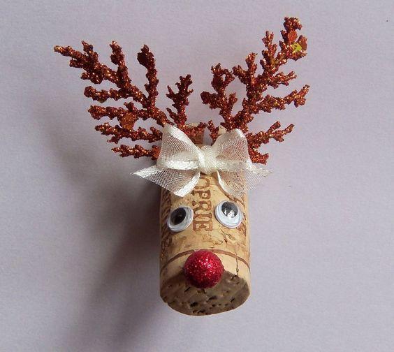 Wine Cork Reindeer Christmas Magnet New Handmade USA: