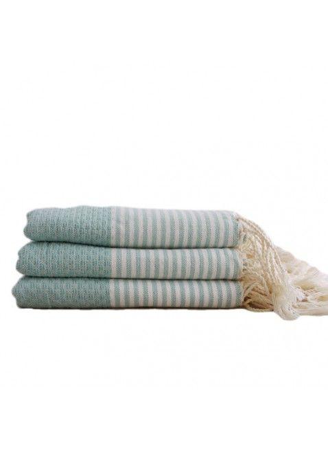 Scents & Feel Fouta Guest Towel in Striped Aqua & White