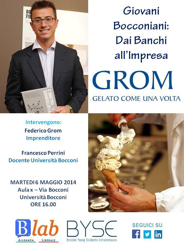"Flyer ""Giovani Bocconiani: dai banchi all'impresa - GROM"""