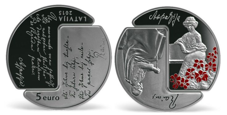 "Latvia, silver 5 euro ""Rainis and Aspazija"", year 2015. Silver collector euro coin of The Bank of Latvia."