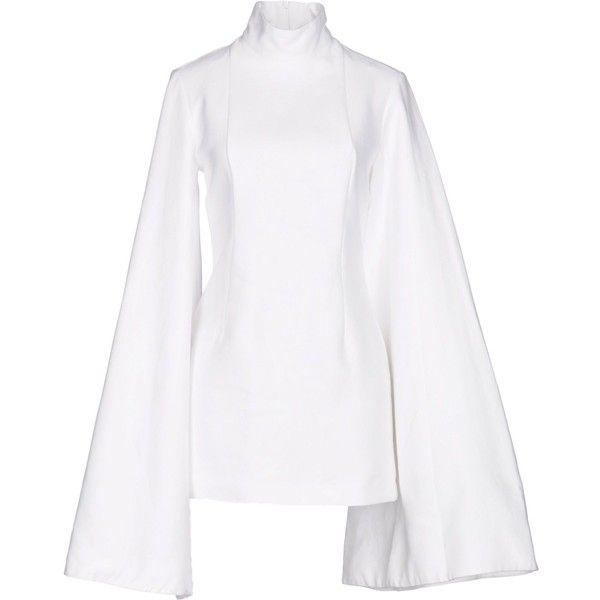 Jacquemus Short Dress ($365) ❤ liked on Polyvore featuring dresses, white, long sleeve mini dress, long sleeve short dress, white mini dress, cotton turtleneck and long-sleeve turtleneck dresses