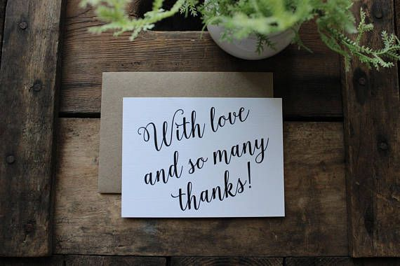 With Love and So Many Thanks Wedding Thank You Cards / Shower  rustic wedding planning, wedding stationery, thank you cards, custom thank you cards, bride and groom ideas, wedding ideas, recycled paper