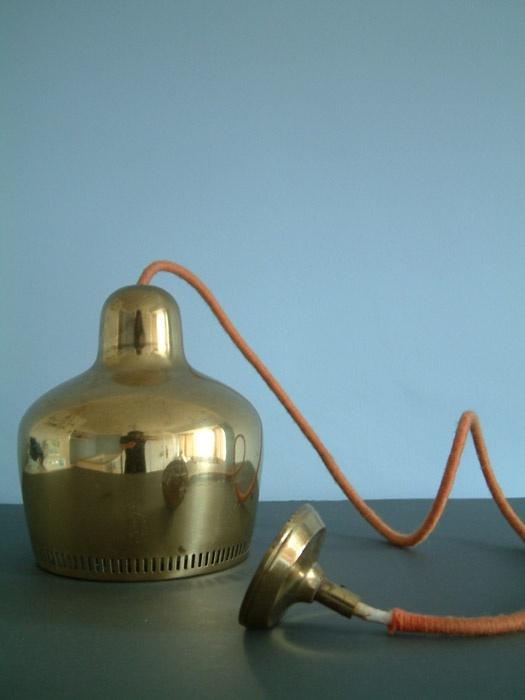 Vintage Golden Bell ceiling light, designed by Alvar Aalto for the Savoy Hotel, Helsinki in 1937.