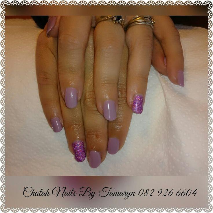 Gel overlay. Purple and glitter