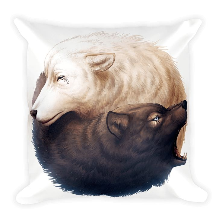 Yin and Yang Wolves Square Pillow