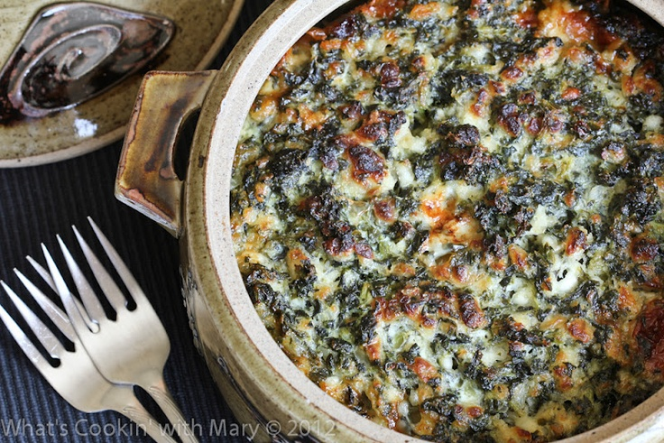 This delicious spinach casserole is six simple ingredients mixed together and baked, easy as pie