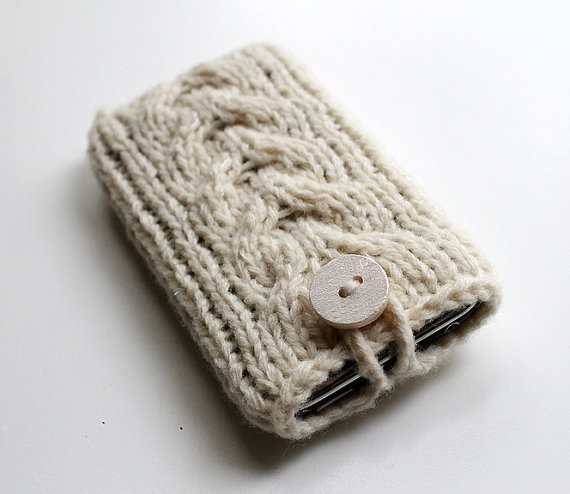 Knitted iPhone iPod Cover White by GoodWeather on Etsy, $13.00