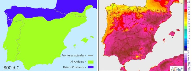 The temperatures in the Iberian Peninsula look like a political map of Al-Andalus in 800 AD