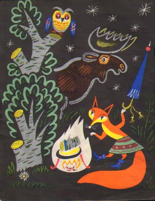 Fox, Owl & Moose illustration by Boris Kalaushin