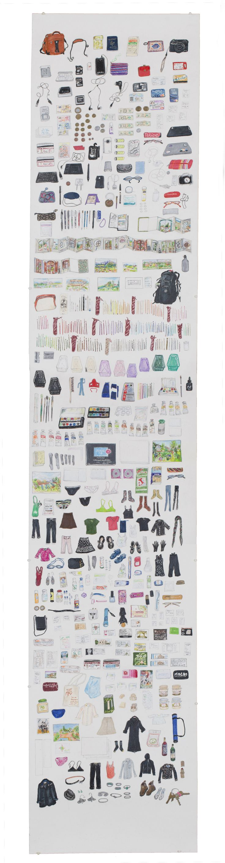 """Elise Engler, """"Suitcase Drawings"""", colored pencil. Engler meticulously archived all of the things she carried while traveling."""