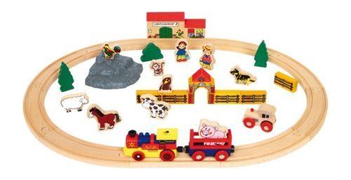 Circuit-train-electrique-chemin-de-fer-en-bois-10-rails-jouet-enfant-Neuf