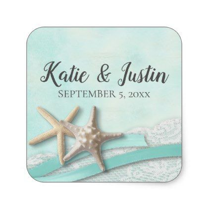 Starfish Lace and Ribbon Romantic Beach Wedding Square Sticker - lace gifts style diy unique special ideas