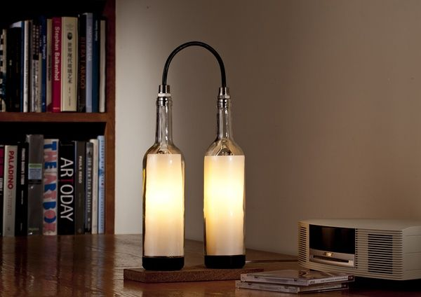 Designer John Meng has come up with a series of gorgeous and green lamps made with upcycled wine bottles.