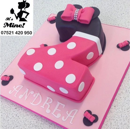 A number two Minnie Mouse birthday cake by It's Mine Cakes