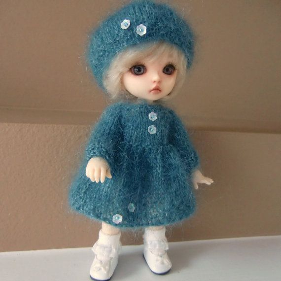 Teal Kidsilk Knitted Dress and Beret for Lati by myfairdolly, $22.00
