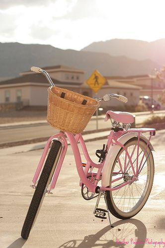 Pink Schwinn beach cruiser bike